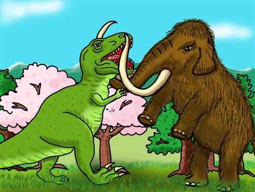 魔法学校の校庭で闘う恐竜とマンモス。狸と狢が化けているのだ。