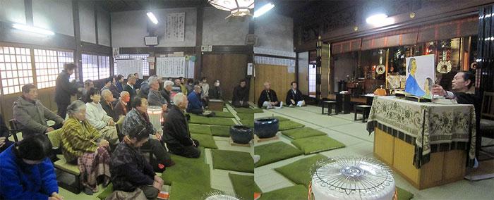 説教の中で『紙芝居』をする市内の寺のS住職