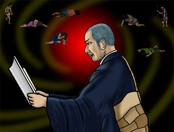 創作紙芝居『親鸞聖人物語』の一場面。