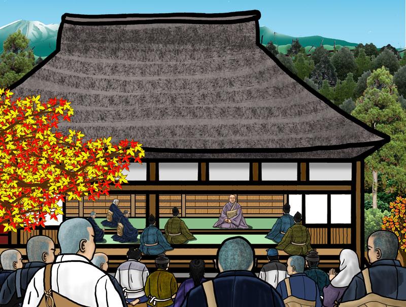 吉水の草庵で法然上人の説教を聞く場面。そこへ親鸞聖人が向かうのである。