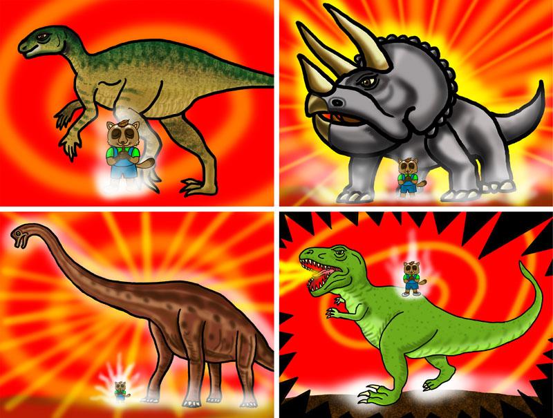恐竜紙芝居の一場面。いずれも狸のタン吉が化けたもの。