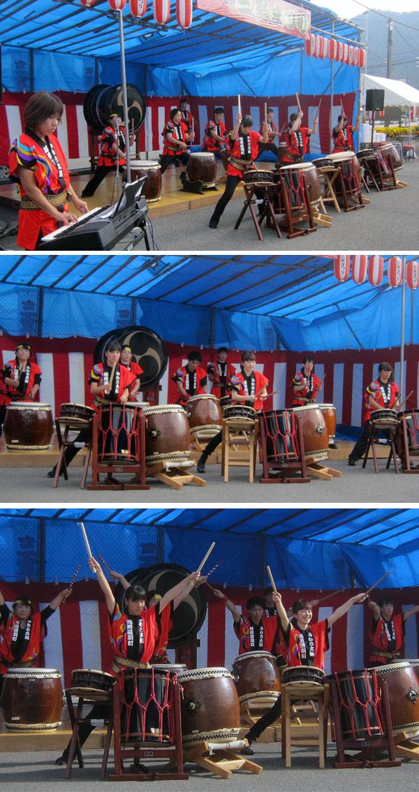 新曲の演奏をする三室太鼓の皆さん。合格点の演奏だった。