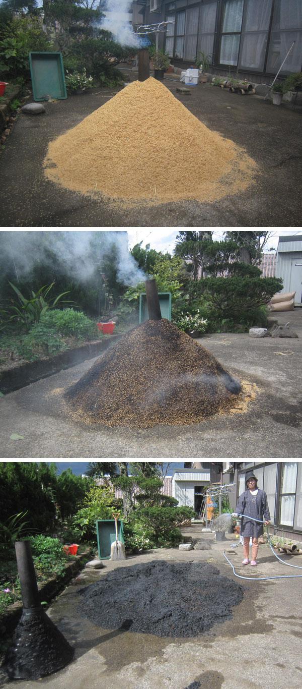 上:燻炭づくり 中:ほぼ完成 下:広げて水をかけて完成