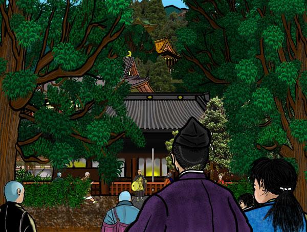 追加した絵。少年親鸞が比叡山延暦寺へ向かう場面。