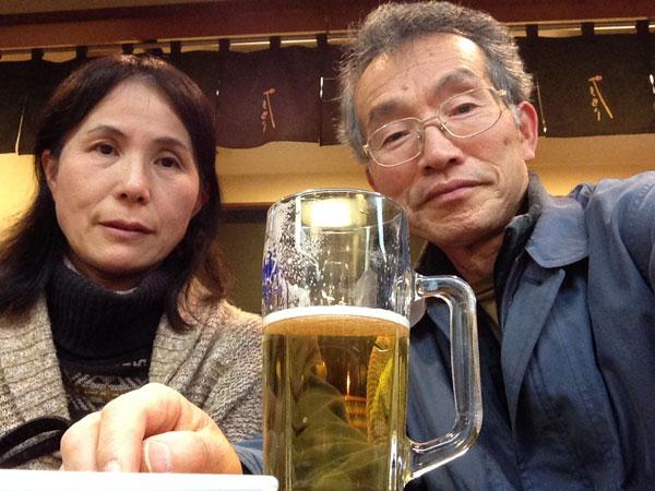 誕生日の外食。ほろ苦いビール。