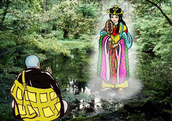 平泉寺の名前の由来となった平清水と女神の出現シーン。