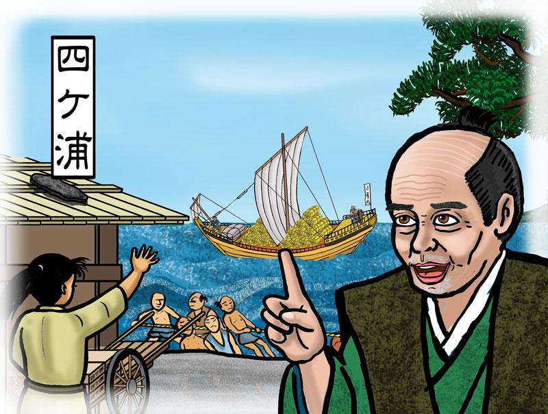 「四ケ浦港から年貢の代わりに鯖を納めさせては」と進言する大野藩の家老。
