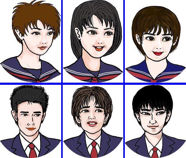 私の数学参考書に登場するキャラクターの高校生達。この6人の喜怒哀楽の顔が揃えてある。