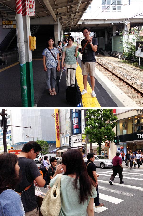 上は、四人で買い物に出発。埼玉県若葉駅にて。下は新宿界隈を歩く娘と家内達。