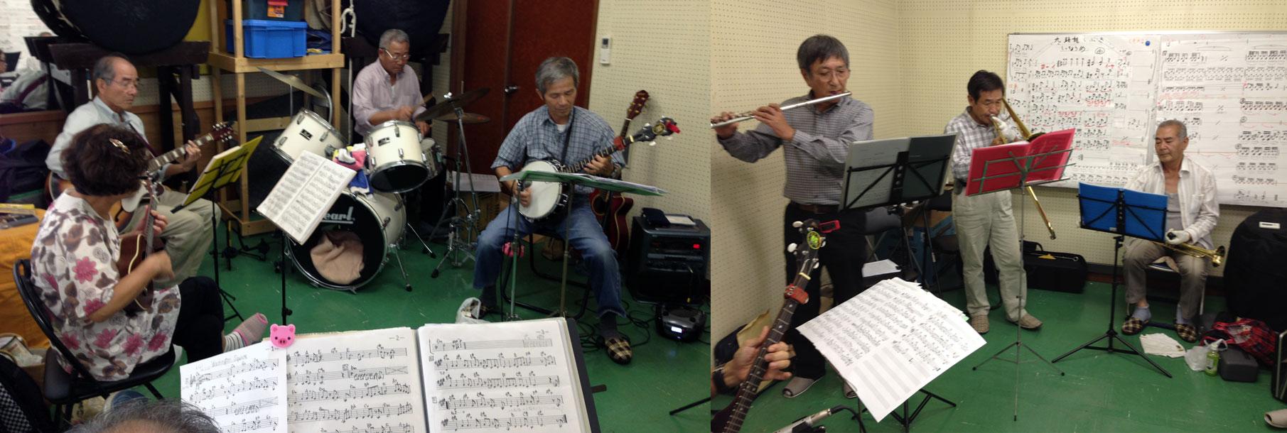 楽しい親父バンドの練習。発表は来年の五月だ。