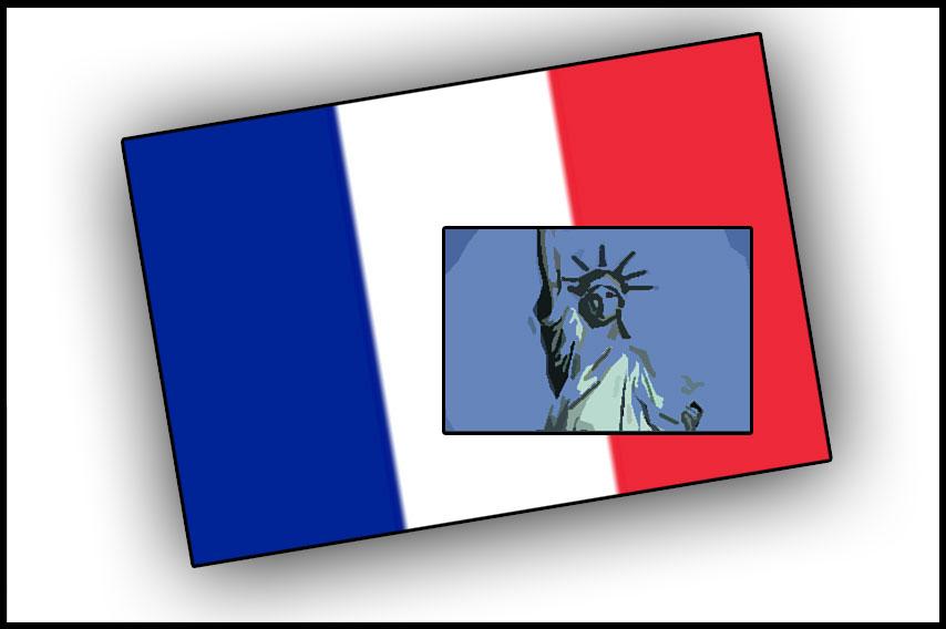 フランスの三色旗と自由の女神(コラージュ)