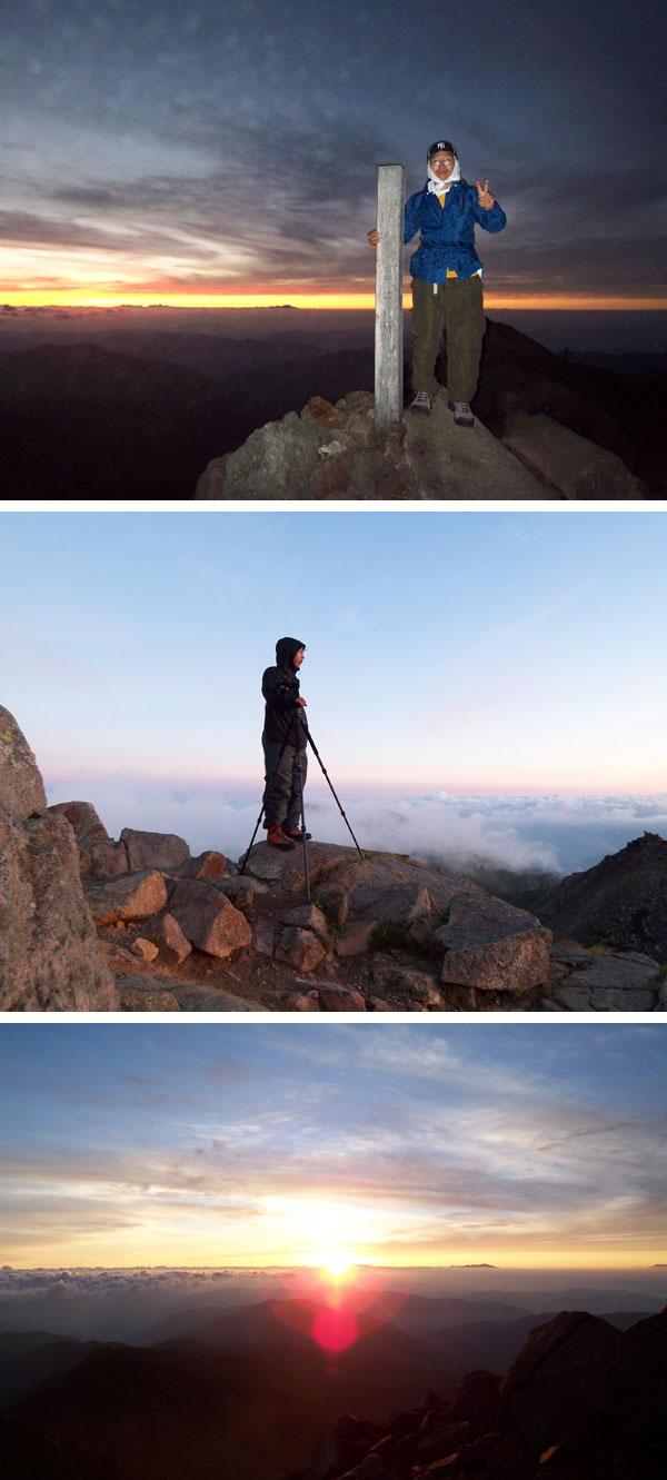 上:白山山頂で御来光を待つ私。中:取材のためのカメラを構えて御来光を待つ。下:御来光。感動の一瞬。