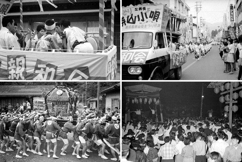 昭和の祭りスナップ。偶然左上写真の左側に私が写っている。右下は神明神社での盆踊り風景。