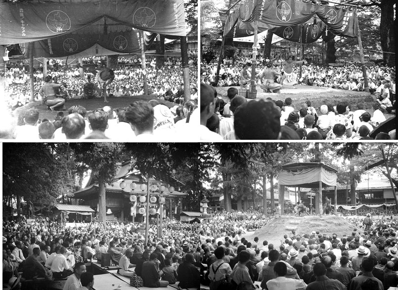 大相撲の横綱の土俵入り(上左:千代の山。上右:吉葉山)。下は神明神社の素人相撲。