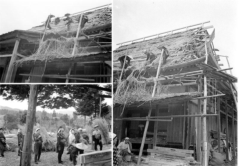 「結」による屋根の葺き替え作業。(写真提供:朝日印刷)
