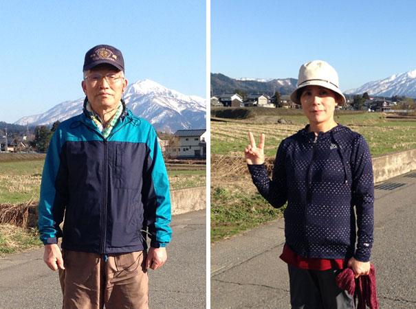 今日も家内と二人で約1時間ウオーキング。後ろに見える山は日本100名山の一つ「荒島岳」。