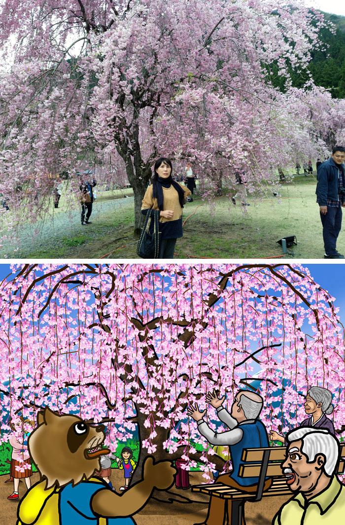 上は去年の4月20日に家内と出かけて見た竹田のしだれ桜。下は、紙芝居の一場面。