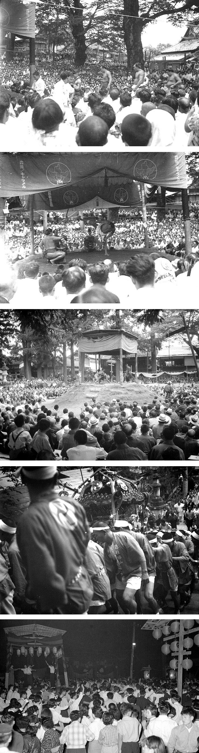 上から2枚:勝山ゆかりの横綱千代の山の巡業風景。中:今も続く「地区対抗相撲大会」。上から4枚目:神明神社の神輿。最下段:盆踊りの賑わい。
