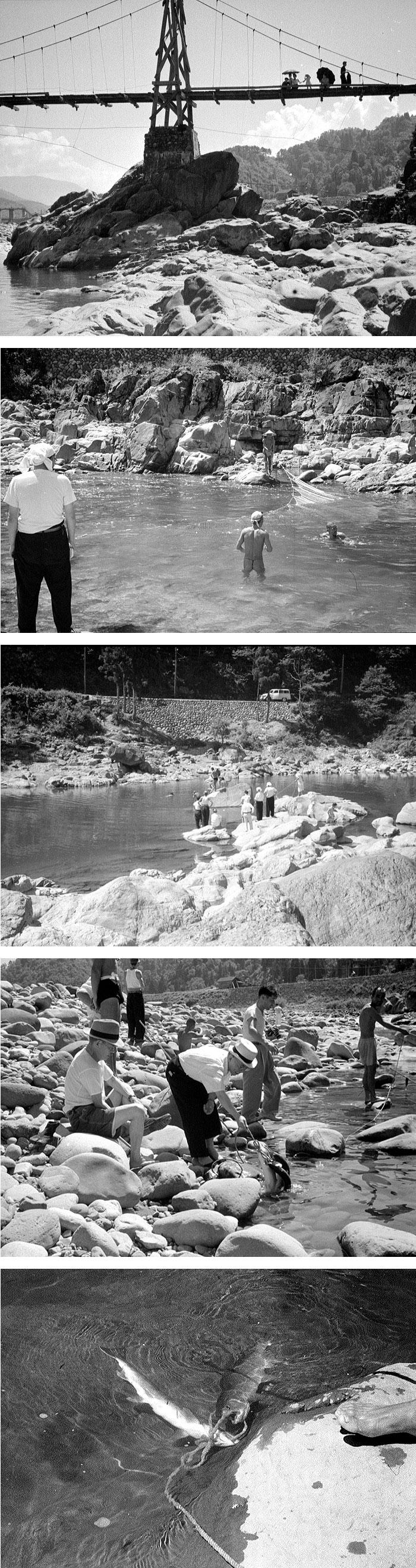 夏になると網を仕掛けて鱒を捕る光景があちこちで見られた。(赤岩付近)