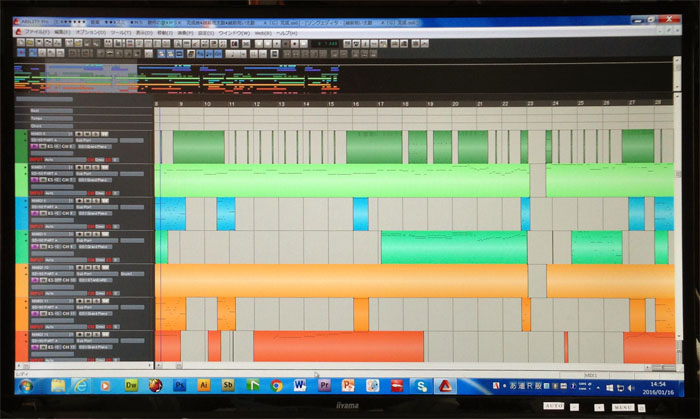 各楽器の音色やボリューム等を調整する編集画面。