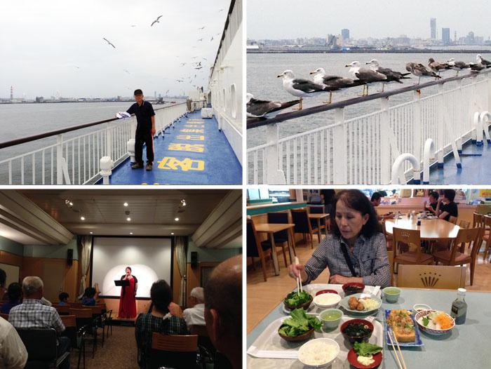 上左:船上でのんびり。上右:鴎たちも旅に同行。下左:船上コンサート。下右:旅の楽しみの一つは食事(船内レストランで)。