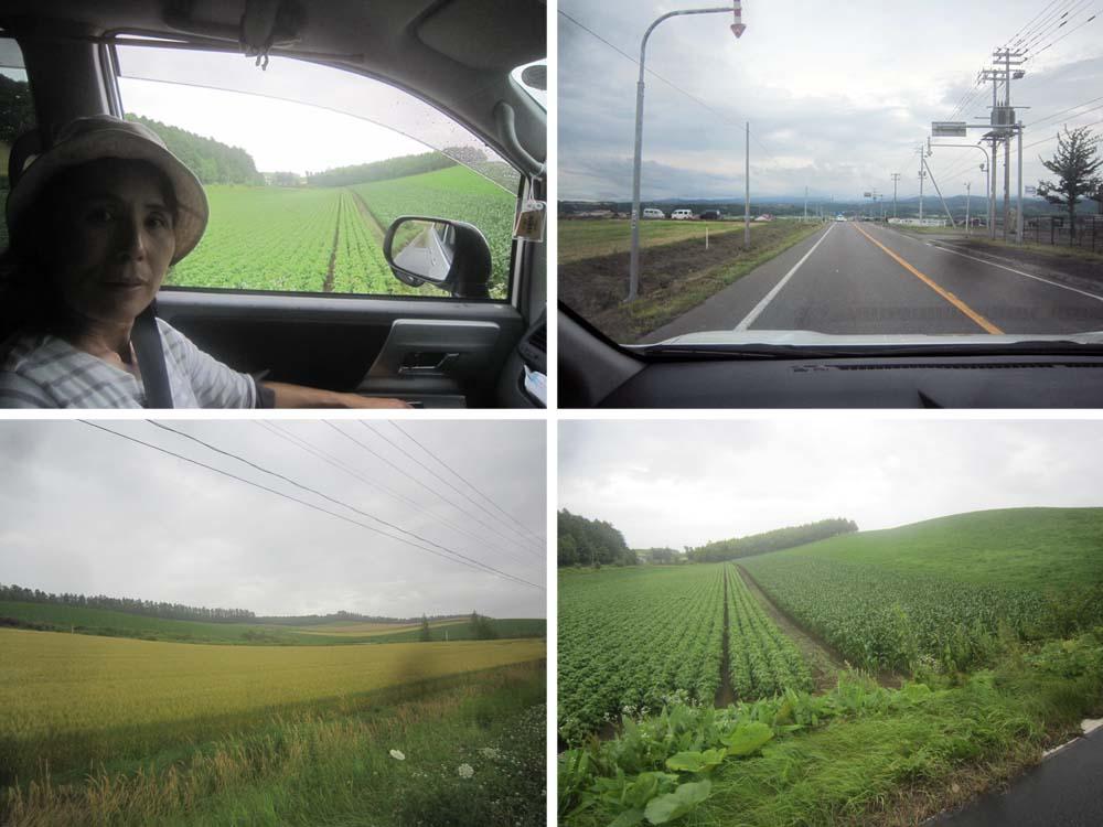 北海道らしい景色の中をダブルナビで車は進んでいく。