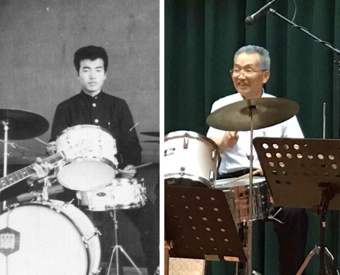 左:20歳頃の私(1963年) 右:三国観光ホテルで演奏する今年の私(2016年)