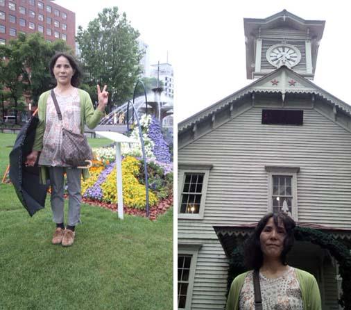 左:きれいな花壇が整備されている札幌大通公園 右:札幌時計台