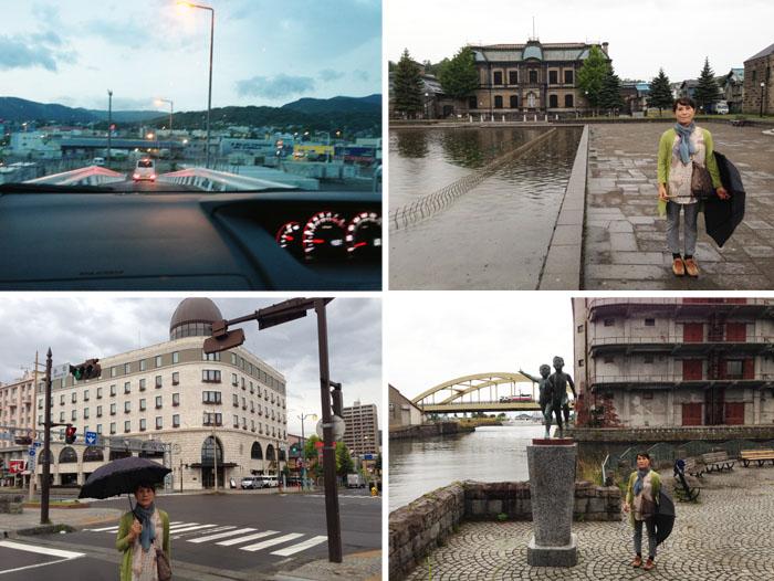 左上:フェリ-甲板から早朝の小樽のまちへ車を進める。その他の写真は小樽の町並み。