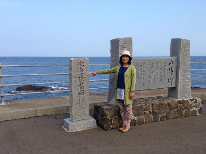 北海道最南端の白神岬にて。