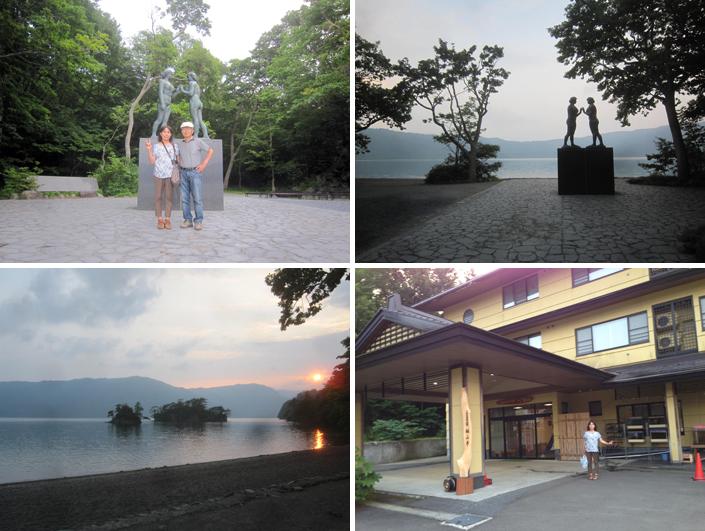 十和田湖畔にある高村光太郎作の「乙女の像」を見る。湖畔の景色や夕焼けがきれいだった。温泉も気持ちよかった。