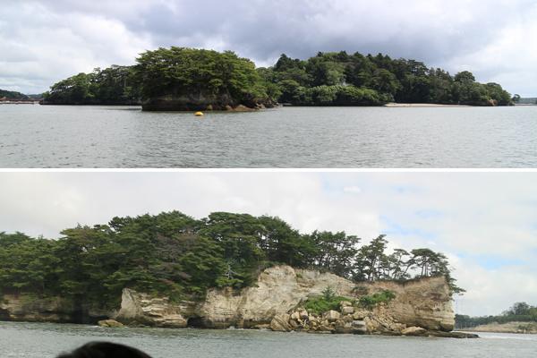 遊覧船上から見える島々